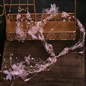 ریسه با گل توری در دو رنگ صورتی و سفید-تصویر 4