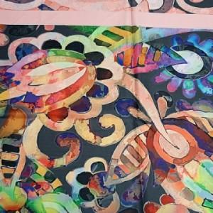 روسری ابریشم فاستونی دیجیتال 166-06 ارکیده-تصویر 3