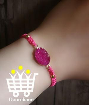 دستبند بافت و سنگ صورتی