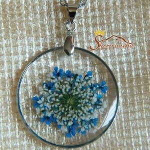 نیم ست دست ساز گل های قاصدکی آبی و سفید با فریم فلزی کد ۵۴۰۰