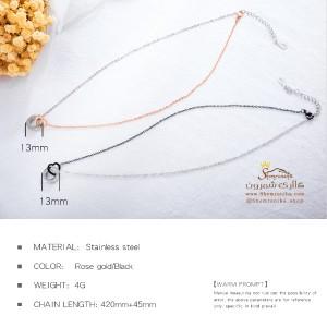 گردنبند حلقه و قلب مشکی NEC480S0-تصویر 4
