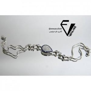 دستبند نقره آبکاری طلا سفید-تصویر 2