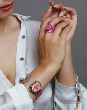 دستبند و انگشتر سنگ اصل سوارسکی لومیر-تصویر 2