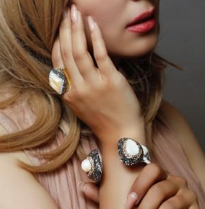 دستبند و انگشتر سنگ اصل سوارسکی لومیر-تصویر 5