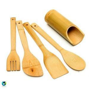 ست کفگیر و قاشق چوبی بامبو-تصویر 2