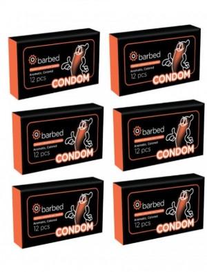 کاندوم خاردار و شیاردار Barbed پک 6 بسته ای