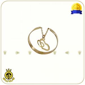 انگشتر طلا فری سایز با آویز قلب دوتایی