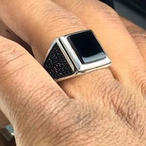 انگشتر عقیق مشکی-تصویر 2