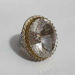 انگشتر جواهری تیتانیوم کوارتز شمش ماداگاسکار ۳۰۰ قیراط