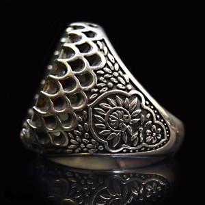 انگشتر مردانه نقره سنگ صدف اصل ( برند ماسیا )-تصویر 3