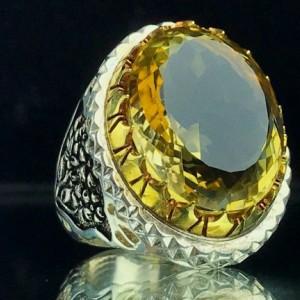 انگشتر سیترین طلایی اصل