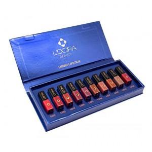 رژلب مایع نیمه مات لدورا کوچک جعبه 10 رنگ