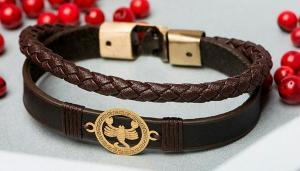 دستبند چرمی با پلاک طلا