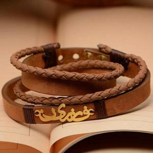 دستبند چرمی با پلاک طلا-تصویر 2