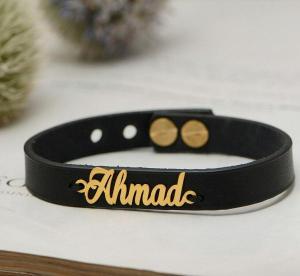 دستبند چرمی با پلاک طلا-تصویر 3
