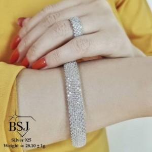ست دستبند و انگشتر نقره