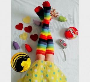 جوراب رنگی رنگی زیر زانو-تصویر 5