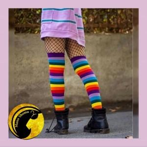 جوراب رنگی رنگی زیر زانو-تصویر 2