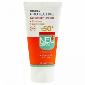 کرم ضد آفتاب نئودرم SPF50 رنگی مناسب پوست نرمال تا خشک 50 میل-بژ روشن