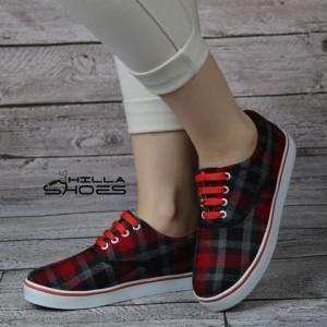 کفش ونس چهارخونه قرمز