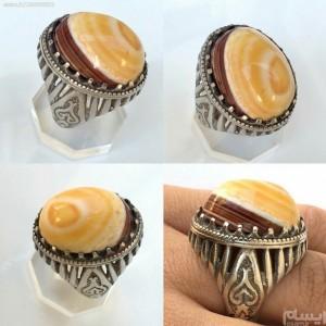 انگشتر نقره با سلیمانی چشم دار زیبا-تصویر 2
