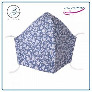 ماسک پارچه ای جین (تنسل) آبی گلدار ۴ لایه