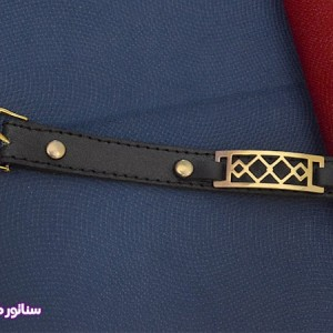 دستبند چرم طرح طلا سناتورمد DM1007